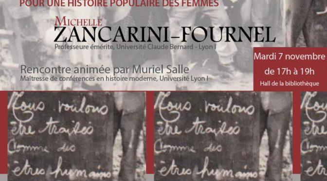Pour une histoire populaire des femmes. Michelle Zancarini-Fournel à la Bibliothèque Diderot de Lyon